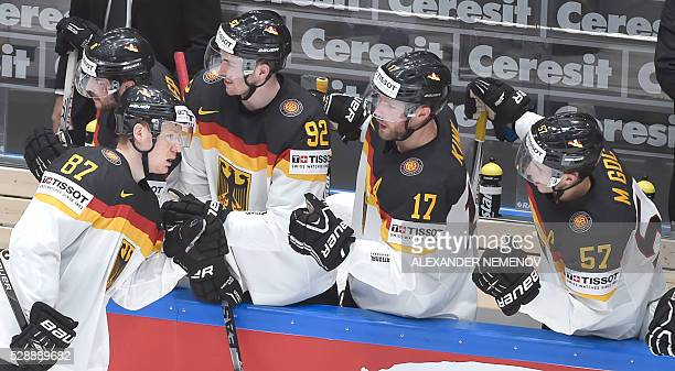 German players celebrate a goal during the group B preliminary round game France vs Germany at the 2016 IIHF Ice Hockey World Championship in St...
