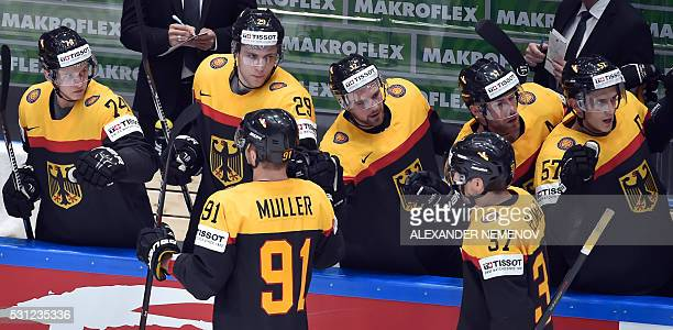 German players celebrate a goal during the group B preliminary round game Germany vs Belarus at the 2016 IIHF Ice Hockey World Championship in Saint...
