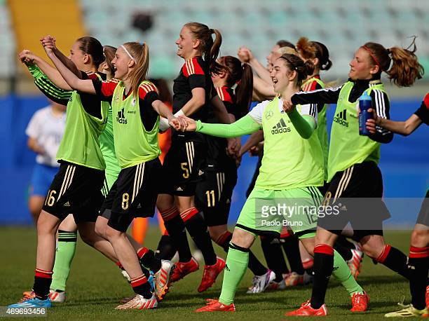 German players celebrate the victory after the UEFA under17 women's Elite Round match between U17 Italy and U17 Germany at Stadio Artemio Franchi on...