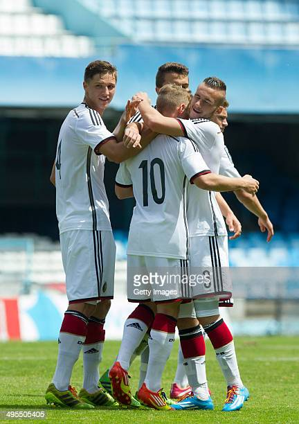 german players celebrating the goal against Denmark during the UEFA Under19 Elite Round match between U19 Germany and U19 at Estadio Balaidos on June...
