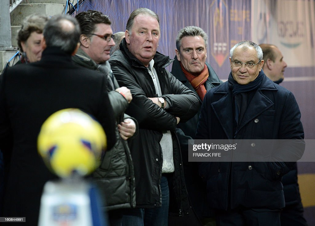 German players who played the World Cup 1982 semi final match between France and Germany are pictured before attending a friendly international football match between France and Germany on February 6, 2013 at the Stade de France in Saint-Denis, near Paris. The match marks the 50th anniversary of the establishment of the Elysee Treaty, which paved the way for friendly relations between two countries that had previously endured a long and bitter rivalry.
