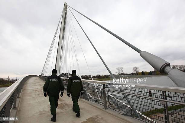 German police men patrol on the Europabruecke bridge on March 26 2009 in Kehl Germany The NATO's 60th anniversary summit will take place in...