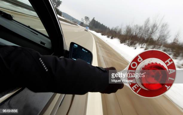 German police men stop the car of Czech travellers during a dragnet control on February 8 2010 in Schwandorf Germany Czech and German police forces...