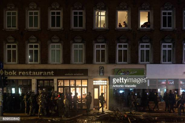 German police takes control of St Pauli area after a night of riots on July 8 2017 in Hamburg Germany German police and protesters clashed for three...