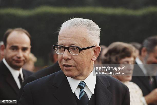 German politician and President of the Federal Republic of Germany Gustav Heinemann pictured attending his presidential inauguration ceremony at...