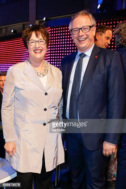 German politician Brigitte Zypries and Georg Fahrenschon attend the Deutscher Gruenderpreis on June 20 2017 in Berlin Germany