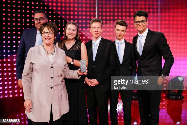 German politician Brigitte Zypries with the pupil award winners Ernst Simon Roedel Sebastian Kral and Reshad Quarizida during the Deutscher...