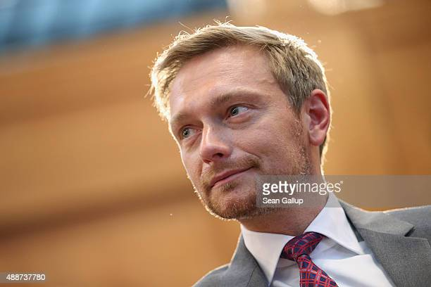 German politician Christian Lindner of the FDP political party attends the Walther Rathenau Award ceremony on September 17 2015 in Berlin Germany The...
