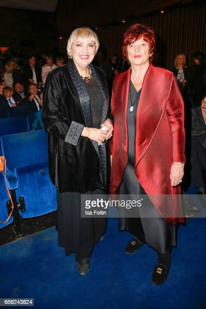 German politician Claudia Roth and producer Regina Ziegler attend the Deutscher Hoerfilmpreis at Kino International on March 21 2017 in Berlin Germany