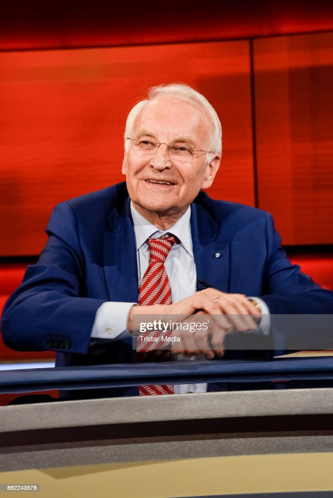 German politician Edmund Stoiber during the 'Hart aber fair' TV Show Photo Call on October 16, 2017 in Berlin, Germany.