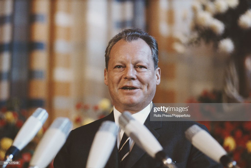 German politician, Foreign Minister and Vice Chancellor of West Germany, <a gi-track='captionPersonalityLinkClicked' href=/galleries/search?phrase=Willy+Brandt&family=editorial&specificpeople=94253 ng-click='$event.stopPropagation()'>Willy Brandt</a> (1913-1992) pictured at a press conference in 1967.