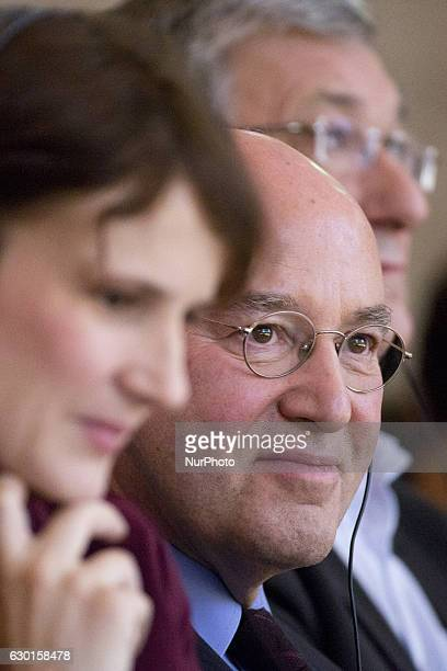 German politician Gregor Gysi and Coleaders of Die Linke party Bernd Riexinger and Katja Kipping are pictured during the 5th congress of the Party of...