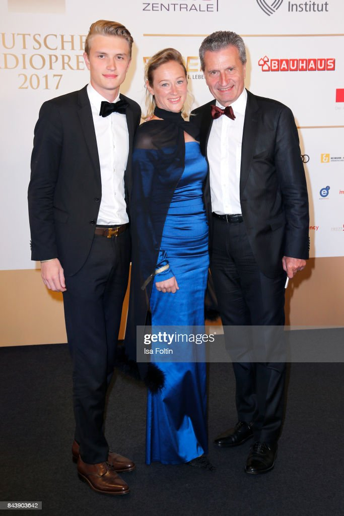 German politician Guenther Oettinger with his partner Friederike Beyer and his son Alexander Oettinger attend the 'Deutscher Radiopreis' (German Radio Award) at Elbphilharmonie on September 7, 2017 in Hamburg, Germany.