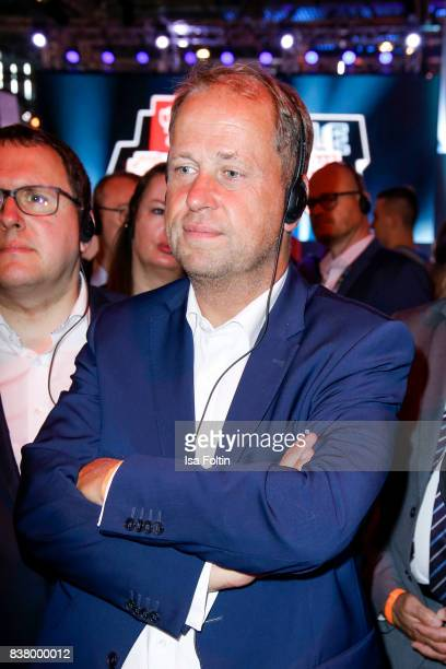 German politician Joachim Stamp pass through the Gamescom 2017 gaming trade fair on August 22 2017 in Cologne Germany Gamescom is the world's largest...
