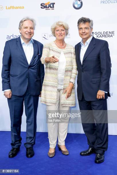 German politician Monika Gruetters Alexander Thies and guest attend the summer party 2017 of the German Producers Alliance on July 12 2017 in Berlin...
