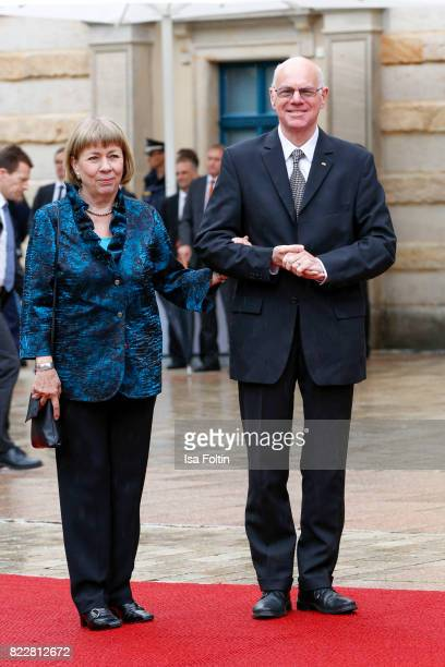 German politician Norbert Lammert and his wife Gertrud Lammert attend the Bayreuth Festival 2017 Opening on July 25 2017 in Bayreuth Germany