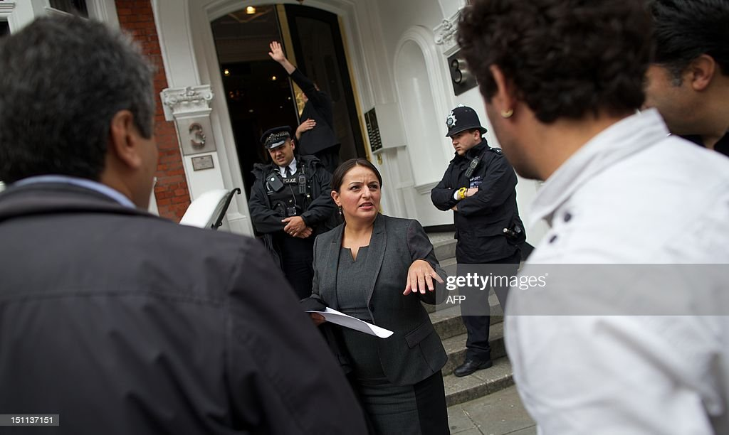 German politician of Turkish origin and a member of the Left Party (die Linkspartei), Sevim Dagdelen talks to the media outside of the Ecuadorian Embassy in London on September 2, 2012. Dagdelen is at the embassy to hold a meeting with Australian Wikileaks founder Julian Assange who has claimed asylum in the Ecuadorian Embassy.