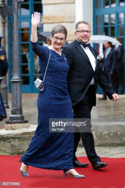 German politician Ulrike Gote and her husband Stefan Schlags attend the Bayreuth Festival 2017 Opening on July 25 2017 in Bayreuth Germany
