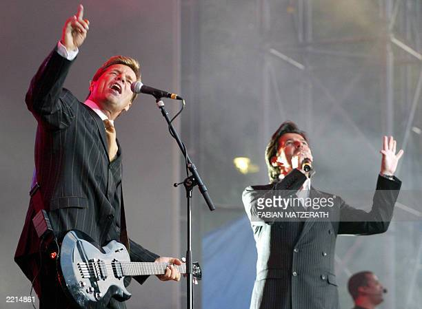 German Pop group Modern Talking's Dieter Bohlen and Thomas Anders perform 21 June 2003 in Berlin This was the last concert before the band split