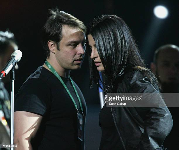 German pop singer Gracia talks with her producer David Brandes at her first rehearsal for the Eurovision Song Contest at the Palace of Sports May 15...