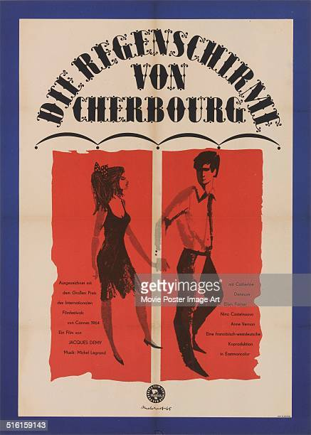 A German poster by Melchert for the French movie 'Les parapluies de Cherbourg' written and directed by Jacques Demy and starring Catherine Deneuve...