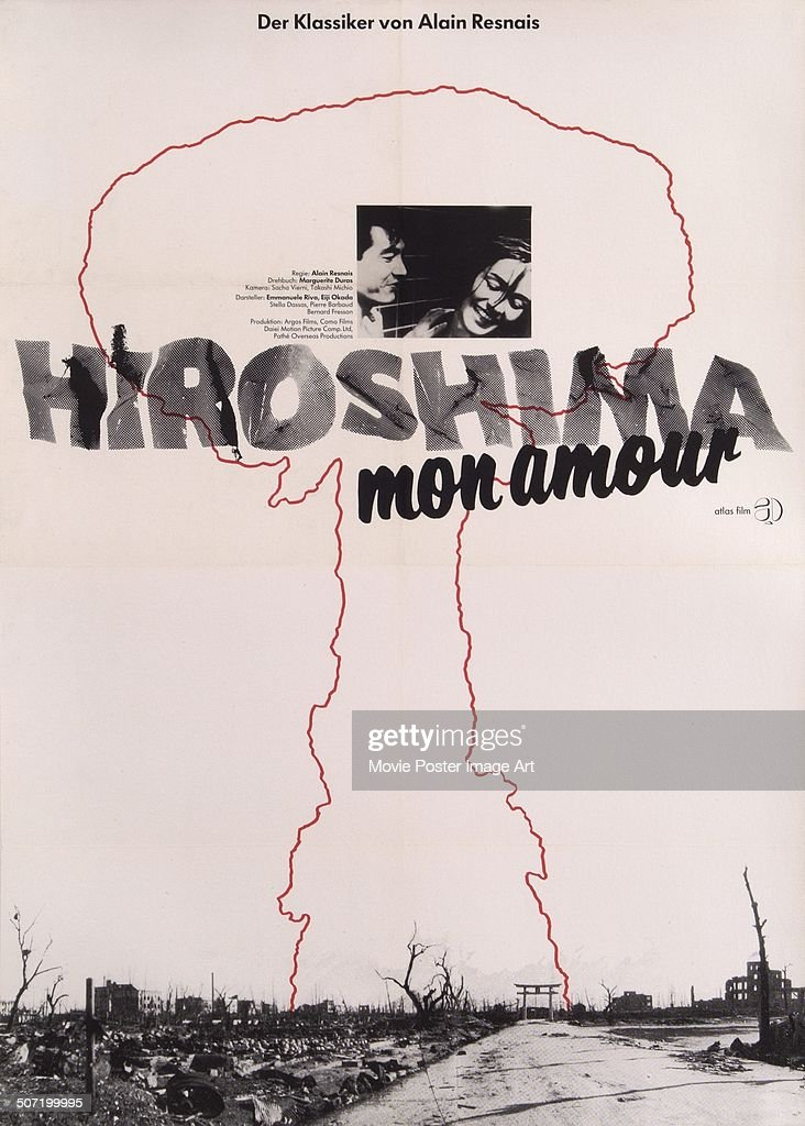 A German poster for Alain Resnais' 1959 drama 'Hiroshima Mon Amour' starring <a gi-track='captionPersonalityLinkClicked' href=/galleries/search?phrase=Emmanuelle+Riva&family=editorial&specificpeople=2029319 ng-click='$event.stopPropagation()'>Emmanuelle Riva</a> and Eiji Okada.