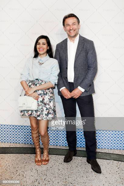 German presenter and actress Collien UlmenFernandes and Erik Schaap CEO Yargici Germany attend the Yargici Flagship Store Opening at Levantehaus on...