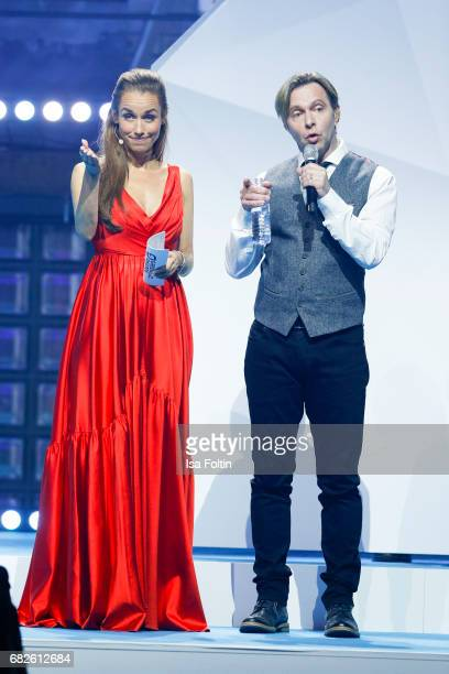 German presenter Annamarie Carpendale and Clark Datchler during the GreenTec Awards Show at ewerk on May 12 2017 in Berlin Germany