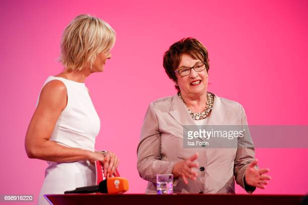German presenter Barbara Hahlweg and German politician Brigitte Zypries attend the Deutscher Gruenderpreis on June 20 2017 in Berlin Germany