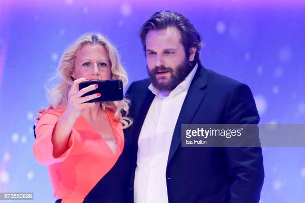 German presenter Barbara Schoeneberger and Youtuber Erik Range alias Gronkh during the German Computer Games Award 2017 at WECC on April 26 2017 in...