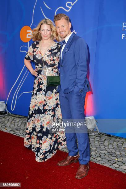 German presenter Gregor Teicher and German presenter Jessica Kastrop attend the Bayerischer Fernsehpreis 2017 at Prinzregententheater on May 19 2017...