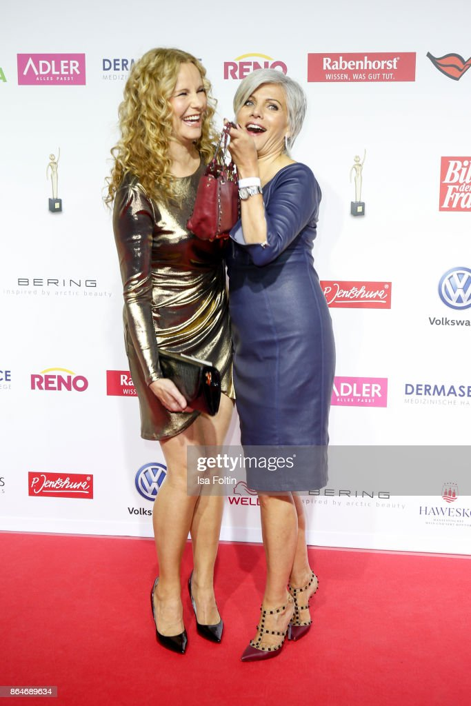 German presenter Katja Burkard and German presenter Birgit Schrowange attend the 'Goldene Bild der Frau' award at Hamburg Cruise Center on October 21, 2017 in Hamburg, Germany.