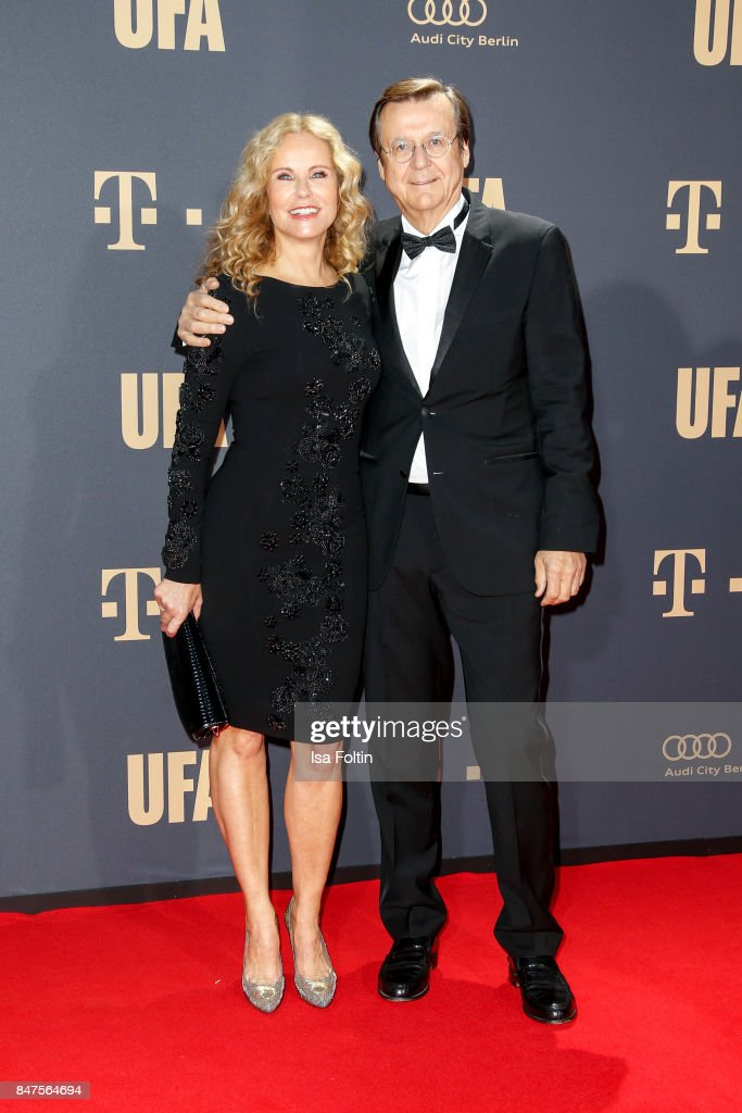 German presenter Katja Burkard and her husband Hans Mahr attend the UFA 100th anniversary celebration at Palais am Funkturm on September 15, 2017 in Berlin, Germany.