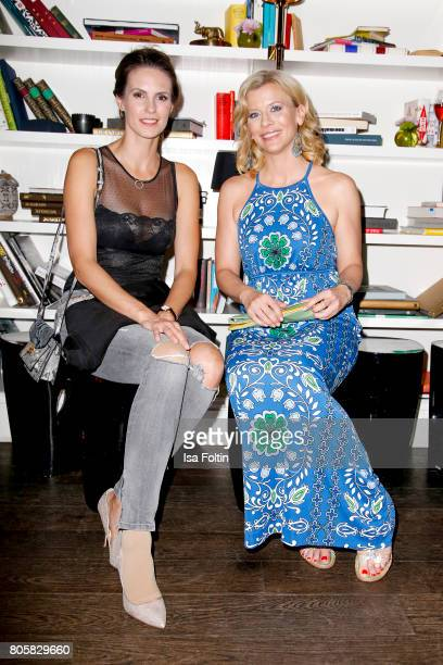 German presenter Katrin Wrobel and German actress Eva Habermann during the host of Annabelle Mandengs Ladies Dinner at Hotel Zoo on July 2 2017 in...