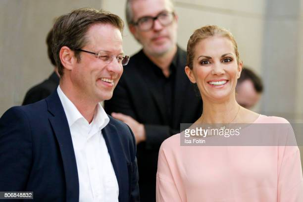 German presenter Kerstin Linnartz and guest during the European Fashion Award FASH at Bode Museum on July 03 2017 in Berlin Germany