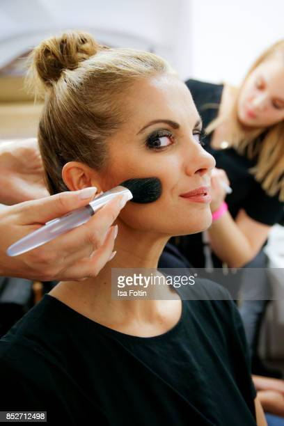 German presenter Kerstin Linnartz backstake during the Minx Fashion Night in favour of 'Sauti Kuu' of Auma Obama at Wuerzburger Residenz on September...