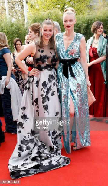 German presenter Nina Eichinger and model Franziska Knuppe during the Lola German Film Award red carpet arrivals at Messe Berlin on April 28 2017 in...