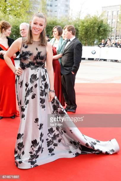 German presenter Nina Eichinger during the Lola German Film Award red carpet arrivals at Messe Berlin on April 28 2017 in Berlin Germany
