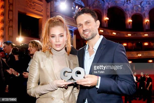 German presenter Palina Rojinski and German actor and award winner Simon Verhoeven during the GQ Men of the year Award 2017 show at Komische Oper on...