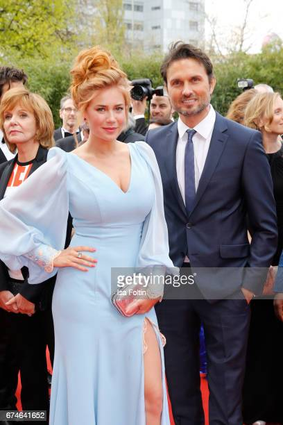 German presenter Palina Rojinski and german actor Simon Verhoeven during the Lola German Film Award red carpet arrivals at Messe Berlin on April 28...