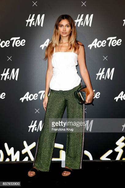 German presenter Wana Limar attends the HM Acee Tee showcase on August 16 2017 in Berlin Germany