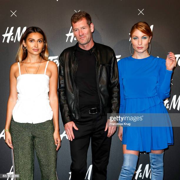 German presenter Wana Limar Sven Twisselmann CEO HM and blogger Lisa Banholzer attend the HM Acee Tee showcase on August 16 2017 in Berlin Germany