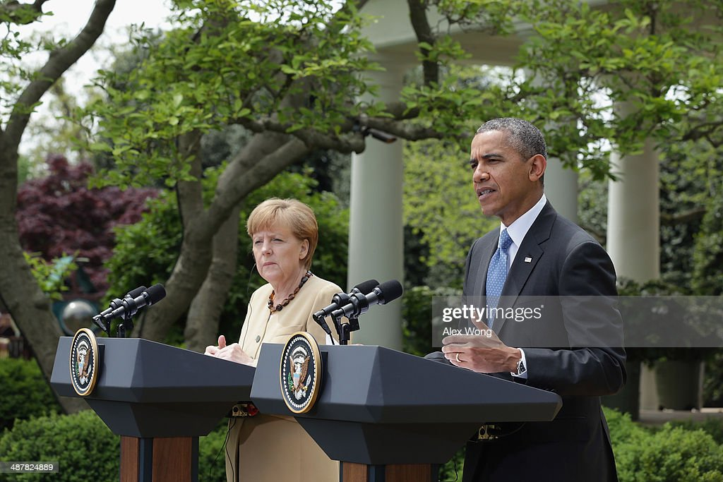 German President <a gi-track='captionPersonalityLinkClicked' href=/galleries/search?phrase=Angela+Merkel&family=editorial&specificpeople=202161 ng-click='$event.stopPropagation()'>Angela Merkel</a> (L) and U.S President <a gi-track='captionPersonalityLinkClicked' href=/galleries/search?phrase=Barack+Obama&family=editorial&specificpeople=203260 ng-click='$event.stopPropagation()'>Barack Obama</a> address the media in the Rose Garden at the White House on May 2, 2014 in Washington, DC. Obama and Merkel emphasized their continued support for the new government in Ukraine and their criticism of Russia after the failure of last month's Geneva Agreement. The Ukrainian military said today that pro-Russian militants in the eastern part of the country had used sophisticated weapons to shoot down two of its helicopters.