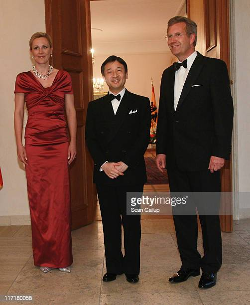 German President Christian Wulff and First Lady Bettina Wulff welcome HRH Crown Prince Naruhito of Japan at Bellevue Palace for a dinner in his...