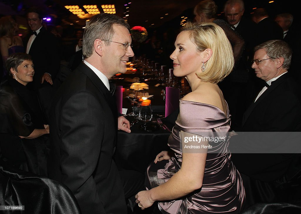 German President Christian Wulff and German First Lady Bettina Wulff attend the annual press ball 'Bundespresseball' at Hotel Intercontinental on...