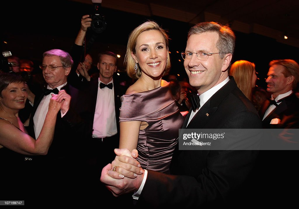 German President Christian Wulff and German First Lady Bettina Wulff open the annual press ball 'Bundespresseball' at Hotel Intercontinental on...