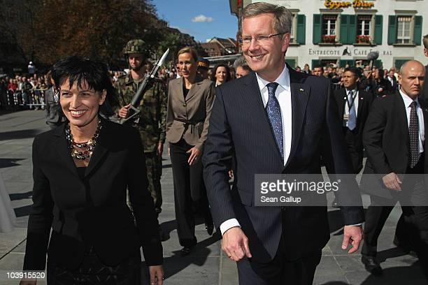 German President Christian Wulff and Swiss President Doris Leuthard walk on Bundesplatz square on September 8 2010 in Bern Switzerland Wulff and his...