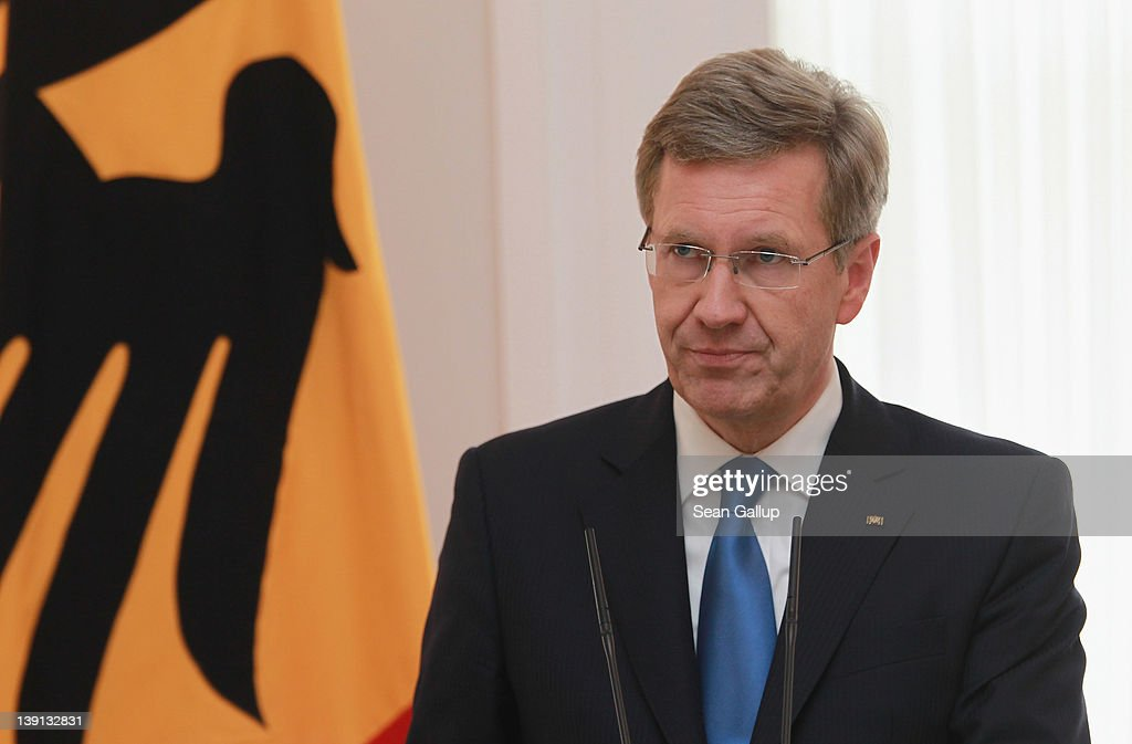 German President <a gi-track='captionPersonalityLinkClicked' href=/galleries/search?phrase=Christian+Wulff&family=editorial&specificpeople=221618 ng-click='$event.stopPropagation()'>Christian Wulff</a> announces his resignation to the media at Bellevue Palace on February 17, 2012 in Berlin, Germany. Wulff is resigning following the launch of investigations by a state prosecutor into possible illegal benefits Wulff received from businessmen while Wulff was governor of Lower Saxony.