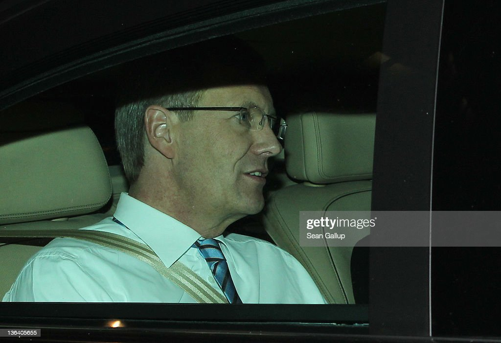 German President <a gi-track='captionPersonalityLinkClicked' href=/galleries/search?phrase=Christian+Wulff&family=editorial&specificpeople=221618 ng-click='$event.stopPropagation()'>Christian Wulff</a> arrives by car for a television interview in which he is scheduled to respond to critics at ARD studios on January 4, 2011 in Berlin, Germany. Wulff has come under increasing pressure to resign following reports that he personally intervened in attempts to prevent journalists from writing about aspects of his personal life, including a recent call to Editor-in-Chief Kai Diekmann of Bild Zeitung, in which he threatened Diekmann with legal action should the paper publish a story about Wulff's personal finance conduct while Wulff was prime minister of Lower Saxony. These accusations come on the heels of revelations of cozy relationships between Wulff and businessmen in Lower Saxony that included free holidays and low interest loans.