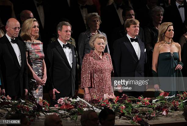 German President Christian Wulff First Lady Bettina Wulff Princess Maxima Prince WillemAlexander and Queen Beatrix of the Netherlands watch a...